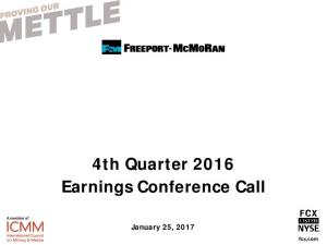 4th Quarter 2016 Earnings Conference Call
