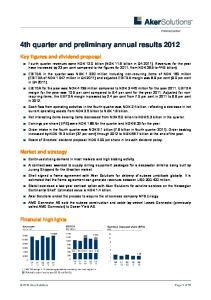 4th quarter and preliminary annual results 2012