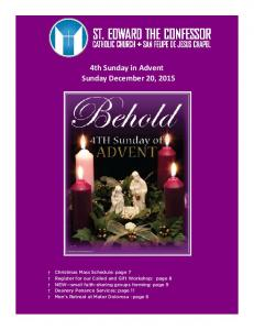 4th Sunday in Advent Sunday December 20, 2015