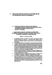5. COMUNICADOS CONJUNTOS DE LOS PRESIDENTES DE LOS ESTADOS PARTE DEL MERCOSUR