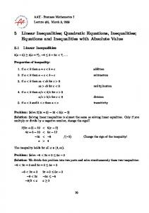 5 Linear Inequalities; Quadratic Equations, Inequalities; Equations and Inequalities with Absolute Value