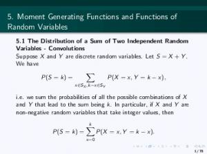 5. Moment Generating Functions and Functions of Random Variables