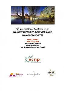 5 th International Conference on NANOSTRUCTURED POLYMERS AND NANOCOMPOSITES
