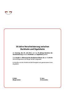 50 Jahre Verschwisterung zwischen Burkheim und Sigolsheim