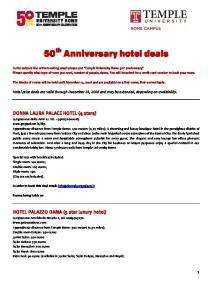 50 th Anniversary hotel deals