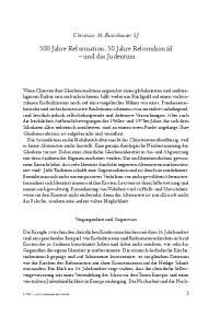 500 Jahre Reformation, 50 Jahre Reformkonzil und das Judentum