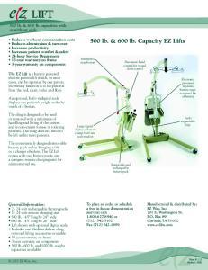 500 lb. & 600 lb. Capacity EZ Lifts