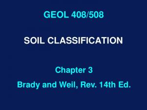 508 SOIL CLASSIFICATION