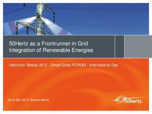 50Hertz as a Frontrunner in Grid Integration of Renewable Energies