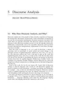 5.1 Who Does Discourse Analysis, and Why?