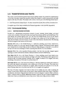 5.13 TRANSPORTATION AND TRAFFIC