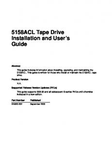 5158ACL Tape Drive Installation and User s Guide