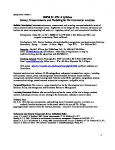 5211 Syllabus Survey, Measurements, and Modeling for Environmental Analysis