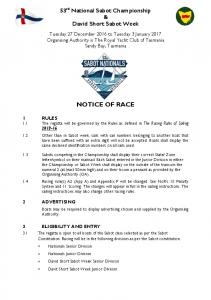 53 rd National Sabot Championship & David Short Sabot Week