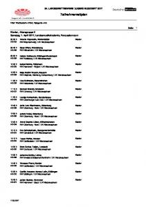 54. LANDESWETTBEWERB 'JUGEND MUSIZIERT' Teilnehmerzeitplan