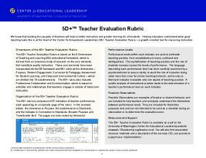 5D+ Teacher Evaluation Rubric