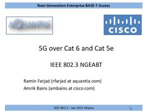 5G over Cat 6 and Cat 5e