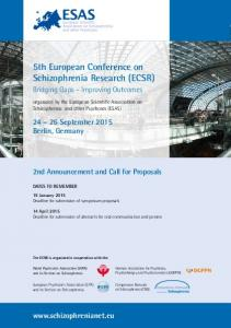 5th European Conference on Schizophrenia Research (ECSR)