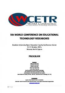 5th WORLD CONFERENCE ON EDUCATIONAL TECHNOLOGY RESEARCHES
