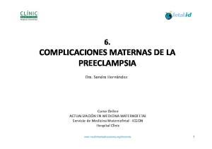 6. COMPLICACIONES MATERNAS DE LA PREECLAMPSIA