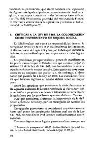 6. CRITICAS A LA LEY DE LA COLONIZACION COMO INSTRUMENTO DE MEJORA SOCIAL