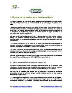 6. El papel de los medios en el debate ambiental