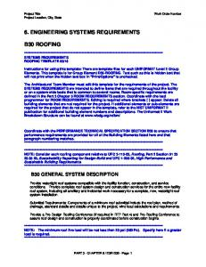 6. ENGINEERING SYSTEMS REQUIREMENTS B30 ROOFING B30 GENERAL SYSTEM DESCRIPTION