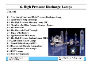 6. High Pressure Discharge Lamps