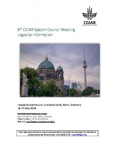 6 th CGIAR System Council Meeting Logistics Information