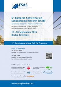 6 th European Conference on Schizophrenia Research (ECSR) September 2017 Berlin, Germany