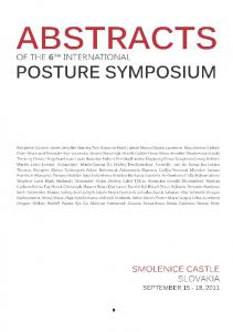 6 TH INTERNATIONAL POSTURE SYMPOSIUM