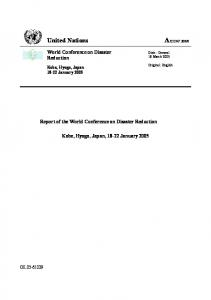 6. United Nations. World Conference on Disaster Reduction. Report of the World Conference on Disaster Reduction