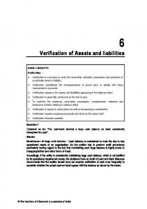 6 Verification of Assets and liabilities