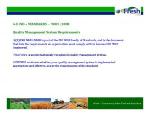 6.0 ISO STANDARDS : Quality Management System Requirements