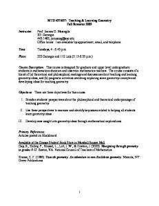 637: Teaching & Learning Geometry Fall Semester 2009