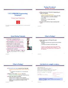 6500 Programming Languages. What is Prolog? Great Prolog Tutorials. Lets look at a sample session