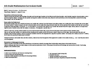 6th Grade Mathematics Curriculum Guide
