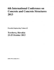6th International Conference on Concrete and Concrete Structures 2013