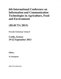 6th International Conference on Information and Communication Technologies in Agriculture, Food and Environment (HAICTA 2013)