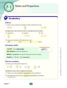 7-1. Ratios and Proportions. Vocabulary. Review. Vocabulary Builder. Use Your Vocabulary