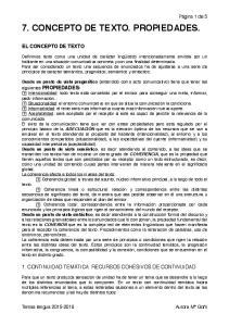 7. CONCEPTO DE TEXTO. PROPIEDADES