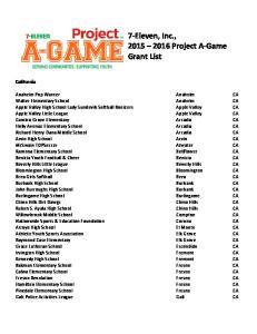 7-Eleven, Inc., Project A-Game Grant List California