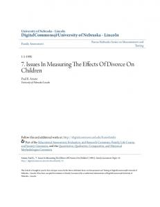 7. Issues In Measuring The Effects Of Divorce On Children