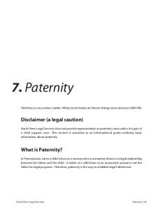 7. Paternity. Disclaimer (a legal caution) What is Paternity?