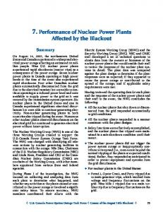 7. Performance of Nuclear Power Plants Affected by the Blackout