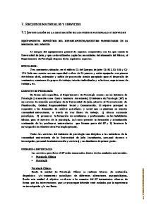 7. RECURSOS MATERIALES Y SERVICIOS