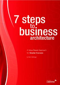 7 steps. business. architecture. A Value Based Approach for Greater Success. by Mark McGregor. sponsored by