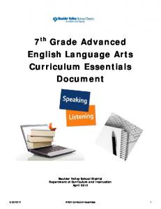 7 th Grade Advanced English Language Arts Curriculum Essentials Document