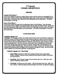 7 th Grade Course Descriptions