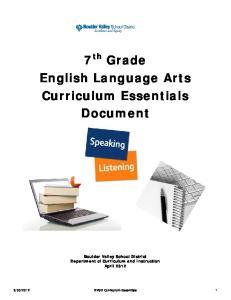 7 th Grade English Language Arts Curriculum Essentials Document